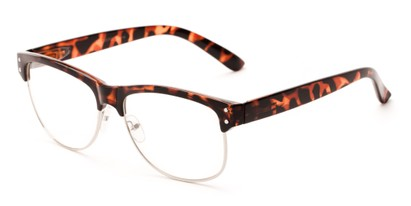 Angle of Baton #83955 in Brown Tortoise Frame with Clear Lenses, Women's and Men's Browline Fake Glasses