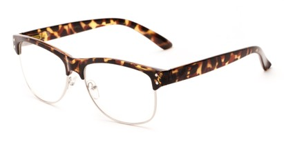 Angle of Baton #83955 in Tan Tortoise Frame with Clear Lenses, Women's and Men's Browline Fake Glasses
