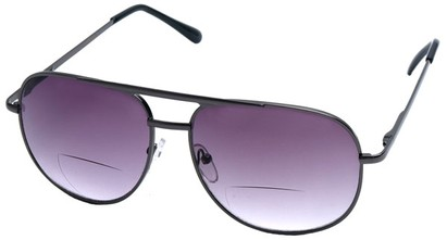 Angle of Pilot #9951 in Grey Frame with Dark Smoke, Women's and Men's Aviator Reading Sunglasses