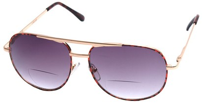 Angle of Pilot #9951 in Gold/Tortoise Frame with Drk Smoke, Women's and Men's Aviator Reading Sunglasses