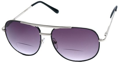 Angle of Pilot #9951 in Silver Frame with Dark Smoke, Women's and Men's Aviator Reading Sunglasses