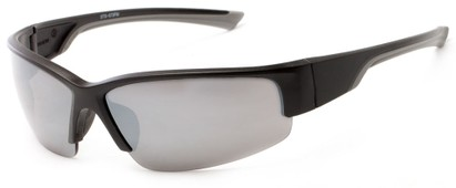 Angle of Olympic #5730 in Black and Grey Frame with Smoke Lenses, Men's Sport & Wrap-Around Sunglasses