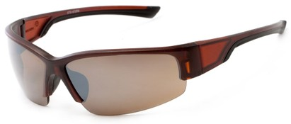 Angle of Olympic #5730 in Brown and Black Frame with Amber Lenses, Men's Sport & Wrap-Around Sunglasses