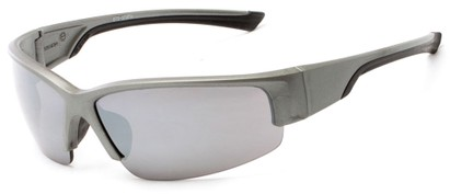 Angle of Olympic #5730 in Silver and Black Frame with Smoke Lenses, Men's Sport & Wrap-Around Sunglasses