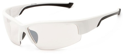Angle of Olympic #5730 in White and Black Frame with Clear Lenses, Men's Sport & Wrap-Around Sunglasses