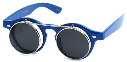 Angle of SW Flip-up Style #1142 in Blue Frame with Silver, Women's and Men's