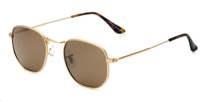 Angle of Dylan #2022 in Matte Gold Frame with Amber Lenses, Women's and Men's Round Sunglasses
