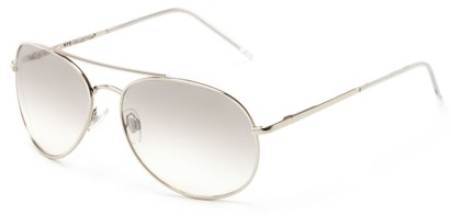 Angle of Columbus #242 in Silver Frame with Light Smoke Lenses, Women's and Men's Aviator Sunglasses