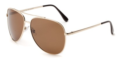 Angle of Safari #1376 in Gold Frame with Brown Lenses, Men's Aviator Sunglasses