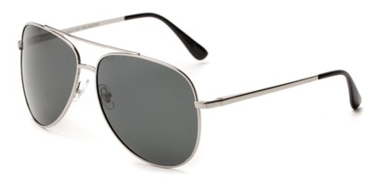 Angle of Safari #1376 in Silver Frame with Grey Lenses, Men's Aviator Sunglasses
