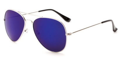 Angle of Santorini #1985 in Silver Frame with Blue Mirrored Lenses, Women's and Men's Aviator Sunglasses