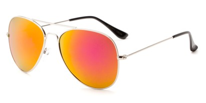 Angle of Santorini #1985 in Silver Frame with Orange Mirrored Lenses, Women's and Men's Aviator Sunglasses