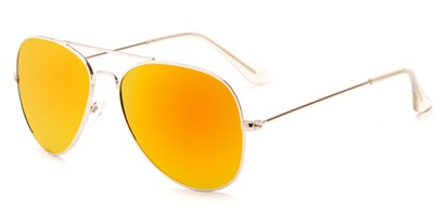 Angle of Santorini #1985 in Gold Frame with Orange Mirrored Lenses, Women's and Men's Aviator Sunglasses
