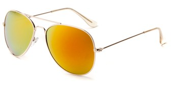 Angle of Santorini #1985 in Gold Frame with Red/Orange Mirrored Lenses, Women's and Men's Aviator Sunglasses