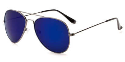 Angle of Santorini #1985 in Grey Frame with Blue Mirrored Lenses, Women's and Men's Aviator Sunglasses