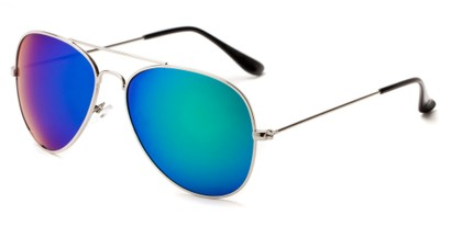 Angle of Santorini #1985 in Silver/Black Frame with Green/Purple Mirrored Lenses, Women's and Men's Aviator Sunglasses