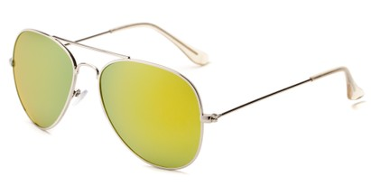 Angle of Santorini #1985 in Silver Frame with Yellow/Green Mirrored Lenses, Women's and Men's Aviator Sunglasses