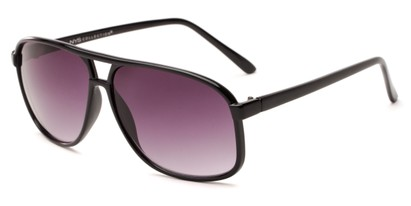 Angle of Sao Paulo #8199 in Black Frame with Smoke Lenses, Men's Aviator Sunglasses