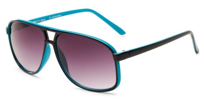 Angle of Sao Paulo #8199 in Black and Blue Frame with Smoke Lenses, Men's Aviator Sunglasses