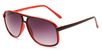 Angle of Sao Paulo #8199 in Black and Red Frame with Smoke Lenses, Men's Aviator Sunglasses