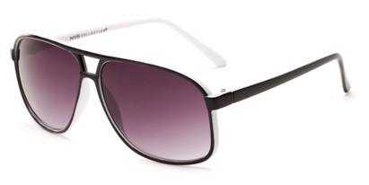 Angle of Sao Paulo #8199 in Black and White Frame with Smoke Lenses, Men's Aviator Sunglasses