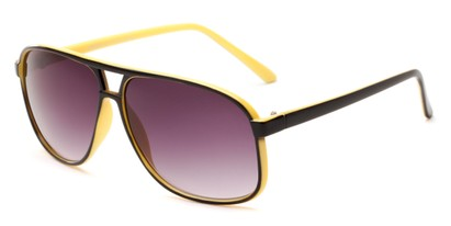 Angle of Sao Paulo #8199 in Black and Yellow Frame with Smoke Lenses, Men's Aviator Sunglasses