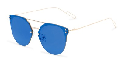 Angle of Saratoga #1616 in Gold Frame with Blue Mirrored Lenses, Women's Retro Square Sunglasses