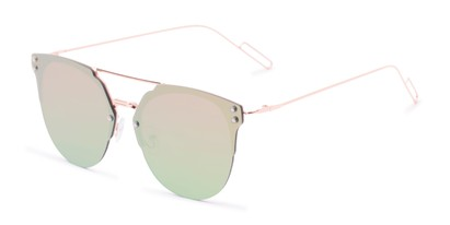 Angle of Saratoga #1616 in Rose Gold Frame with Yellow/Green Mirrored Lenses, Women's Retro Square Sunglasses