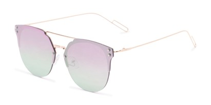Angle of Saratoga #1616 in Gold Frame with Green/Pink Mirrored Lenses, Women's Retro Square Sunglasses