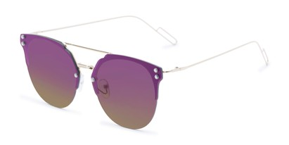 Angle of Saratoga #1616 in Silver Frame with Purple/Yellow Mirrored Lenses, Women's Retro Square Sunglasses