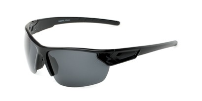 Angle of Shanghai #7060 in Glossy Black Frame with Smoke Lenses, Men's Sport & Wrap-Around Sunglasses