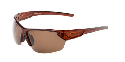 Angle of Shanghai #7060 in Brown Frame with Amber Lenses, Men's Sport & Wrap-Around Sunglasses