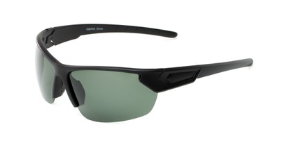 Angle of Shanghai #7060 in Matte Black Frame with Green Lenses, Men's Sport & Wrap-Around Sunglasses