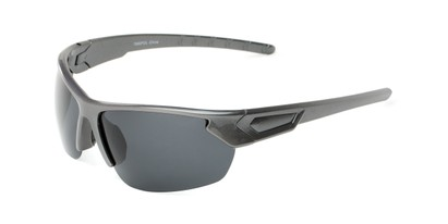 Angle of Shanghai #7060 in Metallic Grey Frame with Smoke Lenses, Men's Sport & Wrap-Around Sunglasses