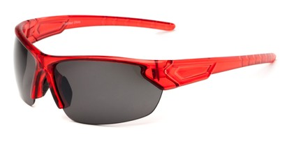 Angle of Shanghai #7060 in Red Frame with Smoke Lenses, Men's Sport & Wrap-Around Sunglasses
