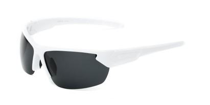 Angle of Shanghai #7060 in White Frame with Smoke Lenses, Men's Sport & Wrap-Around Sunglasses
