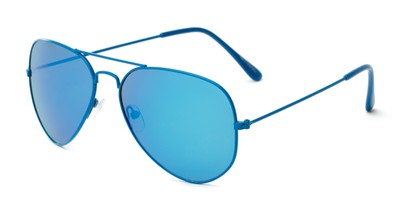 Angle of Shoreline #9379 in Blue Frame with Blue Mirrored Lenses, Women's and Men's Aviator Sunglasses
