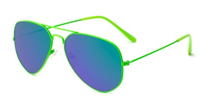 Angle of Shoreline #9379 in Green Frame with Green/Purple Mirrored Lenses, Women's and Men's Aviator Sunglasses