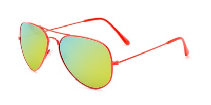 Angle of Shoreline #9379 in Orange Frame with Yellow/Blue Mirrored Lenses, Women's and Men's Aviator Sunglasses
