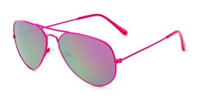 Angle of Shoreline #9379 in Pink Frame with Pink/Green Mirrored Lenses, Women's and Men's Aviator Sunglasses