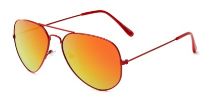 Angle of Shoreline #9379 in Red Frame with Orange/Yellow Mirrored Lenses, Women's and Men's Aviator Sunglasses