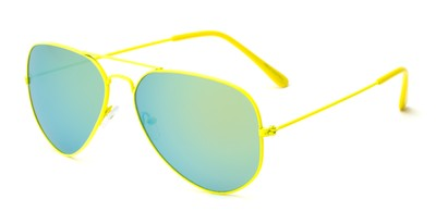 Angle of Shoreline #9379 in Yellow Frame with Yellow/Blue Mirrored Lenses, Women's and Men's Aviator Sunglasses