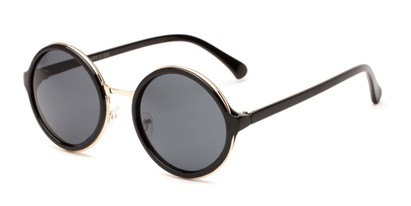 Angle of Sienna #5560 in Black/Gold Frame with Grey Lenses, Women's Round Sunglasses