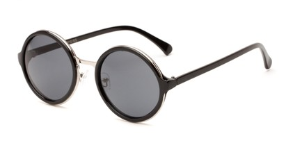 Angle of Sienna #5560 in Black/Silver Frame with Grey Lenses, Women's Round Sunglasses