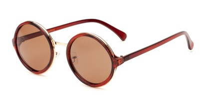 Angle of Sienna #5560 in Brown/Gold Frame with Amber Lenses, Women's Round Sunglasses