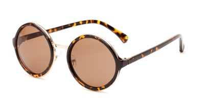 Angle of Sienna #5560 in Brown Tortoise Frame with Amber Lenses, Women's Round Sunglasses