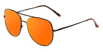 Angle of Slay #8803 in Black Frame with Orange Mirrored Lenses, Women's and Men's Aviator Sunglasses