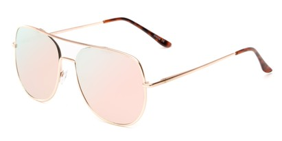 Angle of Slay #8803 in Gold Frame with Pink Mirrored Lenses, Women's and Men's Aviator Sunglasses