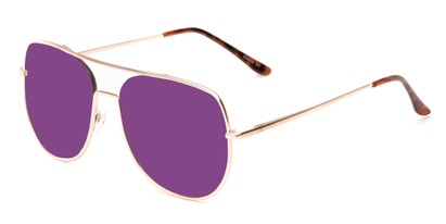 Angle of Slay #8803 in Gold Frame with Purple Mirrored Lenses, Women's and Men's Aviator Sunglasses