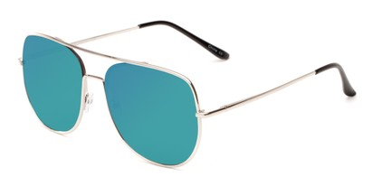 Angle of Slay #8803 in Silver Frame with Blue Mirrored Lenses, Women's and Men's Aviator Sunglasses